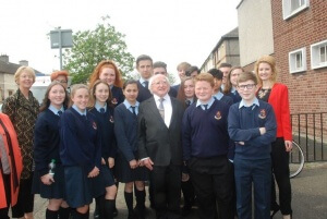 (55) President with Pupils from OLM Sec School
